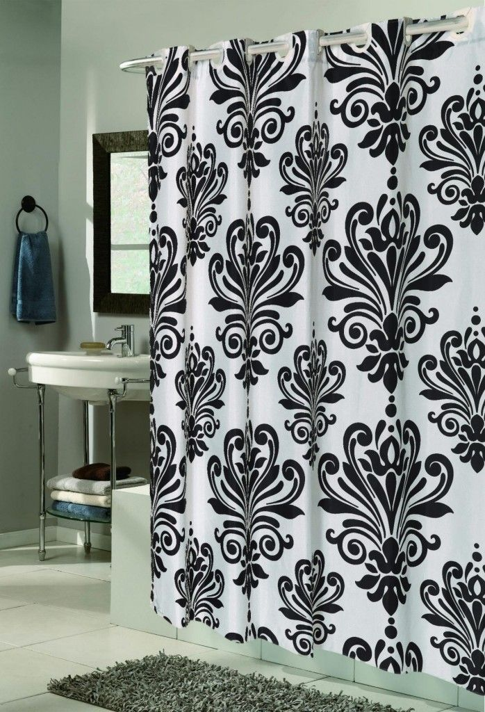 Furniture White Shower Curtains With Black Pattern And Curvy Stainless Steel Curtain