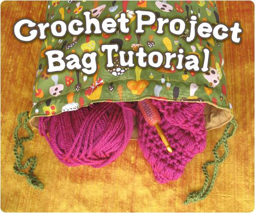 simple drawstring project bag with a flat bottom so it'll sit nicely while you work! nother *great* free pattern photo-tutorial from:  *gleefulThings