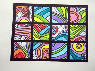 Each child could complete a square then arrange to make artwork