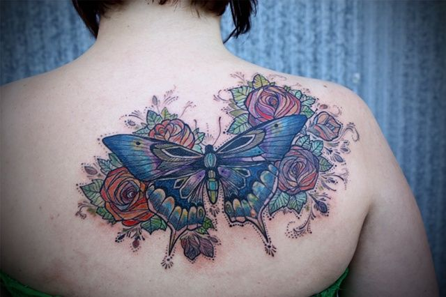 butterfly & roses: Tattoo Ideas, David Hale Tattoo, Body Art, A Tattoo, Rose Tattoo, Butterflies Tattoo, Butterfly Tattoos, Tattoo Ink, Bodyart
