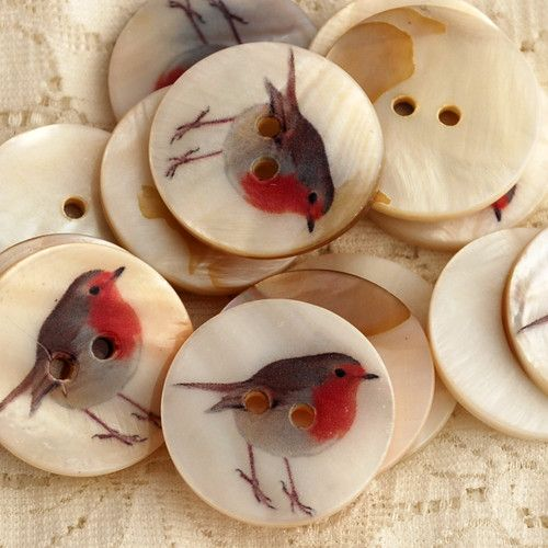 5 Natural Shell Zakka Sewing Buttons - Bird Owl Colletion - Robin Blue Tit Owl | eBay