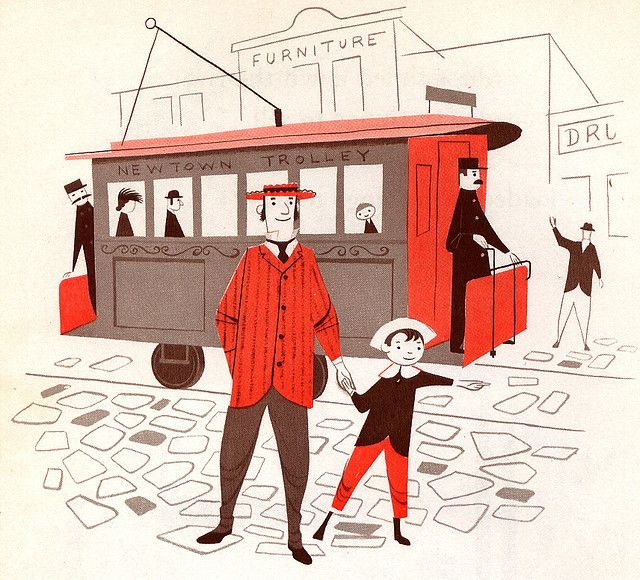 """""""This is a Town,"""" illustrated by Robert J. Lee, Follett Publishing Co., 1957"""