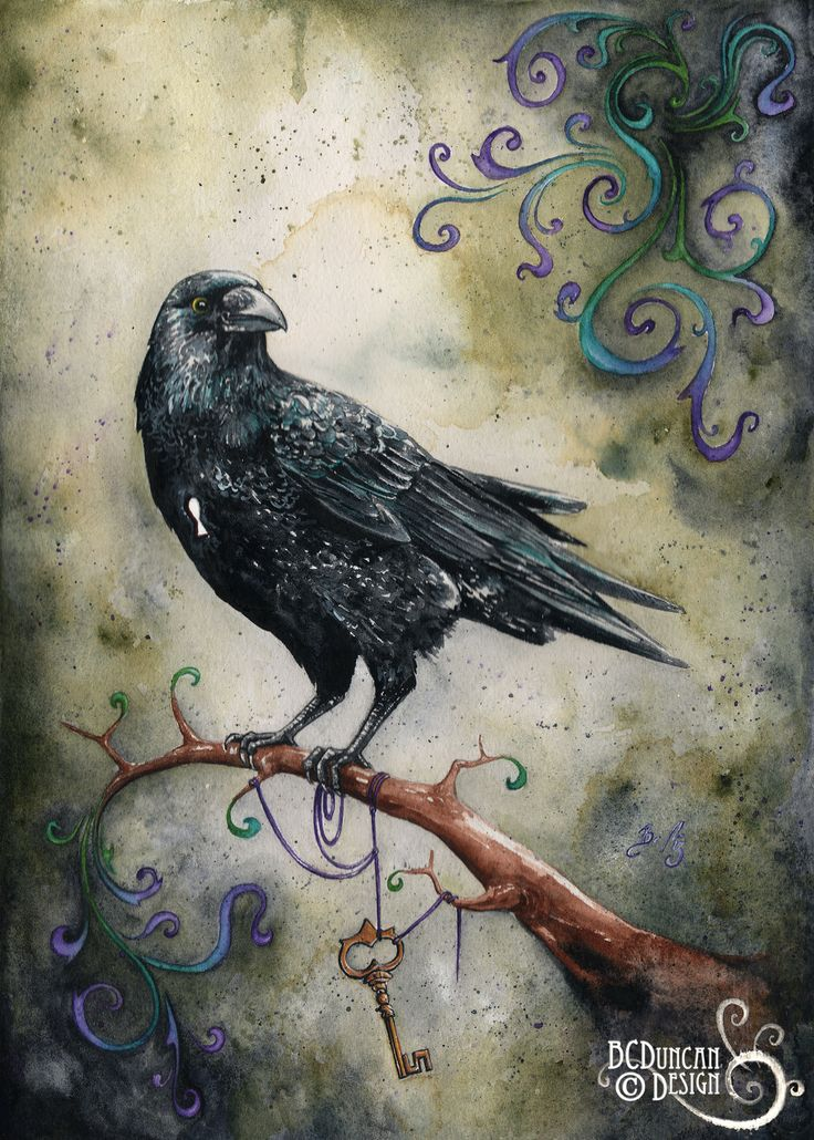 """Of Corvids & Key Holes"" watercolour, 2014 www.clockworkart.com  crow Raven key art"