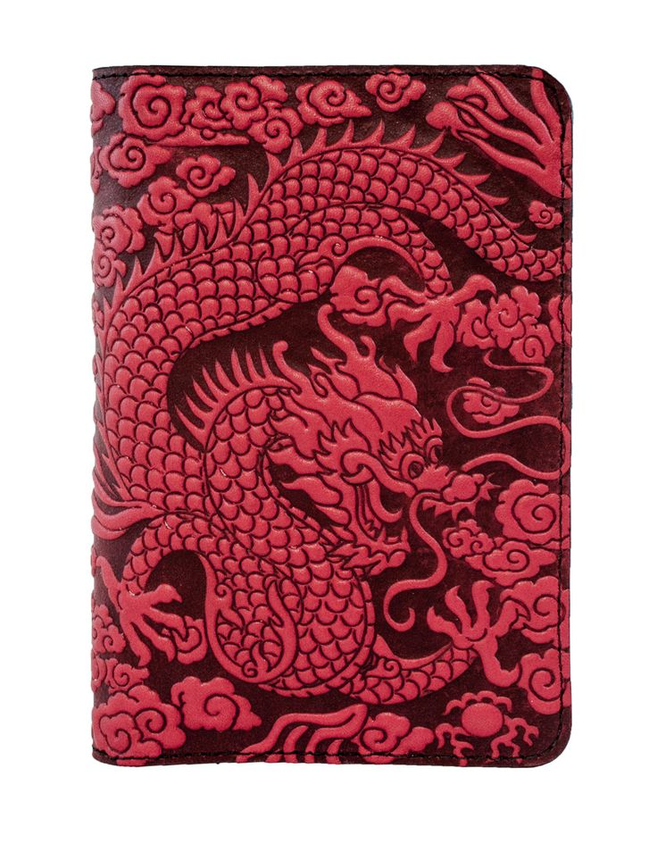 Leather Pocket Notebook Cover   For 5.5 x 3.5 Inch Notebooks   Cloud Dragon   3 Colors