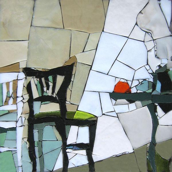 Hommage à Van Gogh. Pâte de verre Albertini - 340 x 340 mm sur support béton by Michelle Combeau                                                                                                                                                                                 Plus