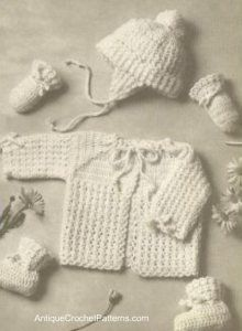 Puff Stitch Baby Set Free Crochet Pattern