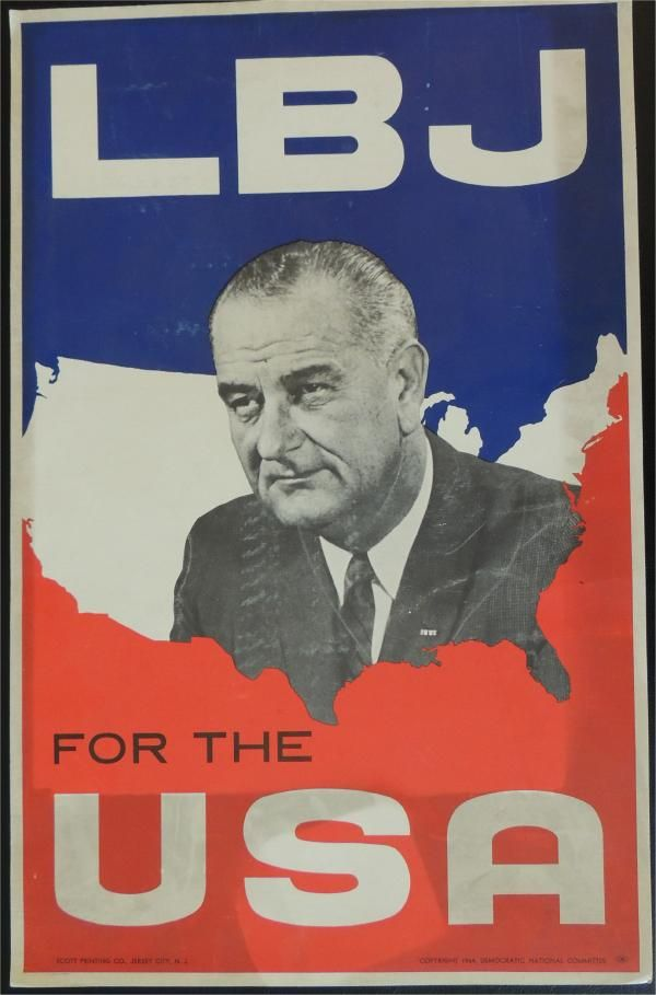1964 DNC | 1964 Original LBJ for the USA Campaign Poster President Lyndon B ...