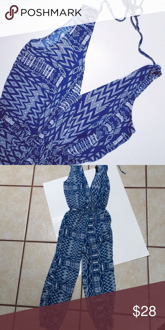 🎉HP 🎉 Aztec Jumper NWOT Aztec blue and white jumper! Has elastic at waist and ankles! Size L in juniors!   HP 7/23/16 Weekend Warrior Pants Jumpsuits & Rompers