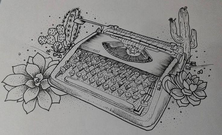 Máquina de escrever + suculentas e cactos. Criação com referências. .  .  .  .  .  .  .  .  #tattoo #tatuagem #blackwork #inked #tattooed #ink #sketch #sketchtattoo #dotwork