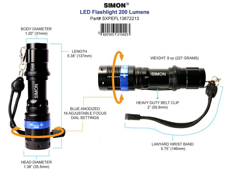 It's Only a little over 5 inches tall but it packs a big punch. The Simon Cree flashlight is the best led flashlight for professionals and  consumers for everyday use. Get Yours Today!  http://www.simonflashlights.com/product/cree-led-flashlight-xpe-200/ Just $25.00