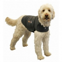 Thunder Jacket For Dogs... supposed to be like a swaddler for a baby to reduce anxiety. The vet recommended it for Jin
