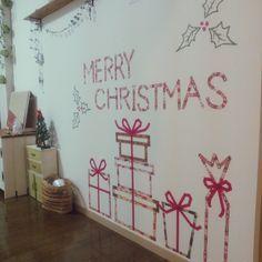 Ryoさんの、ウォールデコ,マスキングテープ,クリスマスディスプレイ,マステ,賃貸,1K,一人暮らし,賃貸アパート,クリスマス,壁/天井,のお部屋写真
