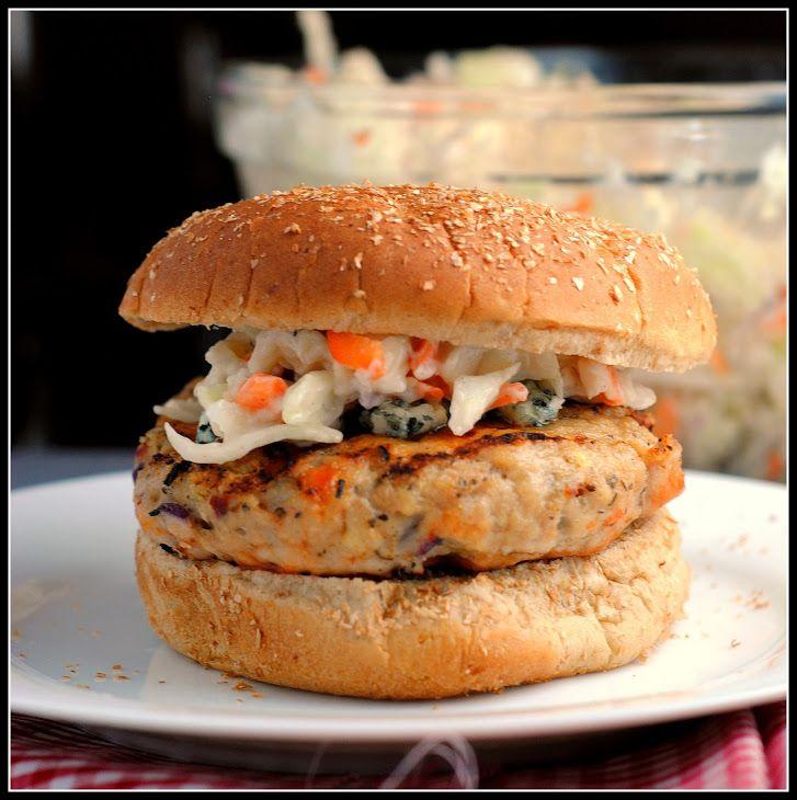 Buffalo Chicken Burgers Recipe Main Dishes, Lunch with ground chicken breast, garlic powder, purple onion, italian seasoning, crushed red pepper, plain breadcrumbs, salt, olive oil, buffalo sauce, whole wheat hamburger buns, crumbled blue cheese, buffalo sauce
