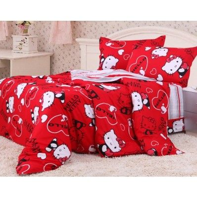 Red Hello Kitty Full And Queen Bedding: Red, Bed Sets, Kitty Bedding, Beds Bedding, Color Bedding, Bedding Sets, Hello Kitty Bed, Queen Bedding Girls