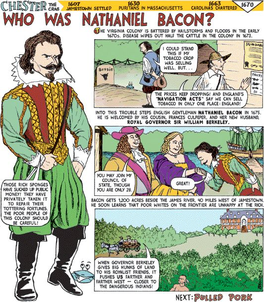 nathaniel bacon Rebel leader of bacon's rebellion(1676) still considered by some to be the first anti-tyrannical, tax revolt against the crown, one hundred years before the revolutionary war although disputed to this day with the patriot, bacon, began the undying spirit of american independence, which blossomed into the.