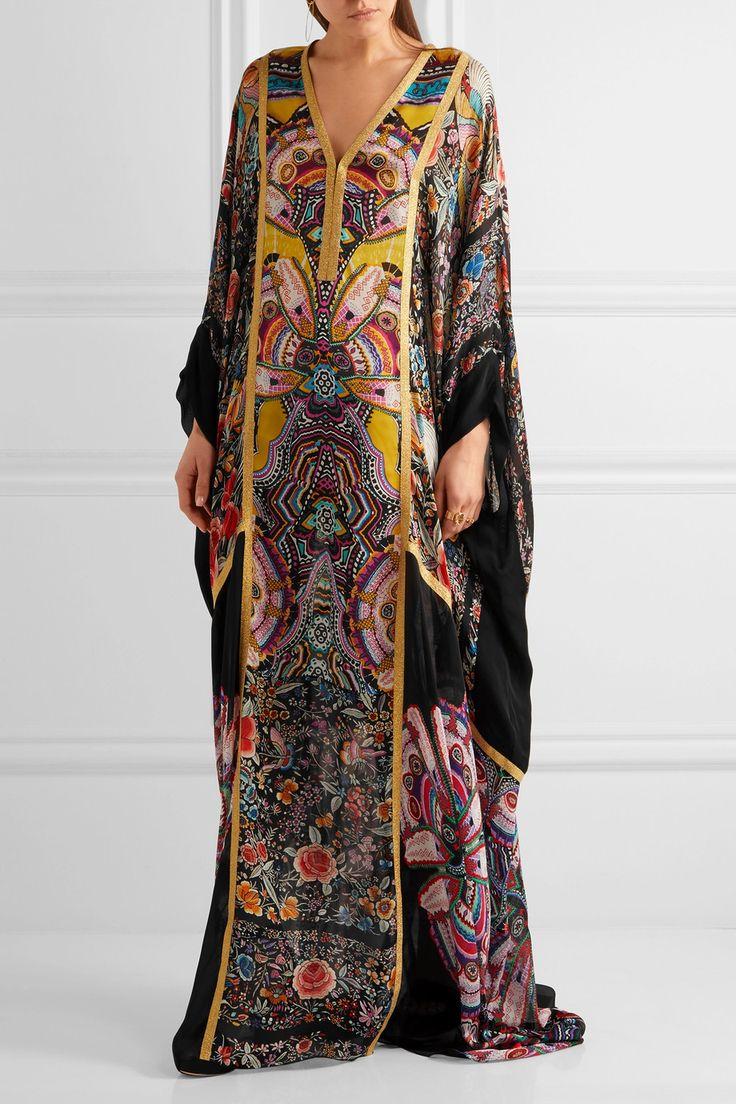 Roberto Cavalli | Metallic-trimmed printed silk-chiffon maxi dress | NET-A-PORTER.COM
