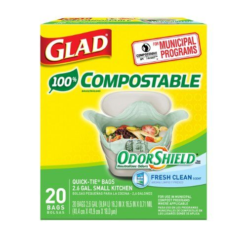 glad odorshield small kitchen compostable trash bags 26 gallon 20 count pack of