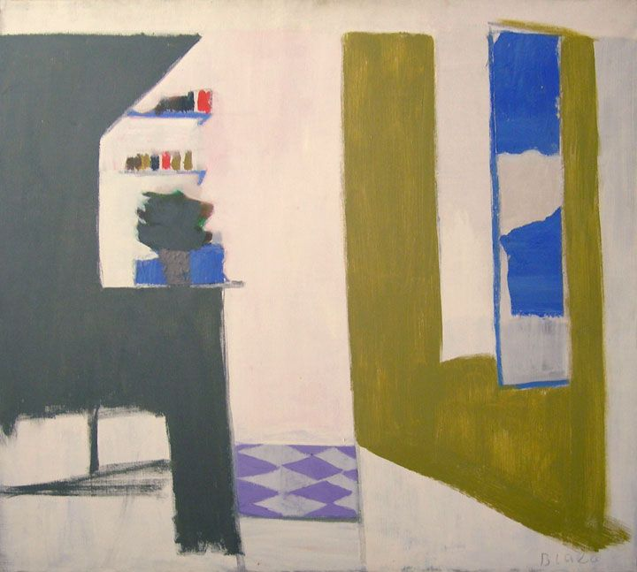 Janice Biala, Kitchen with Purple Floor, 1969 Oil on canvas 39 1/2 x 39 1/4 in.