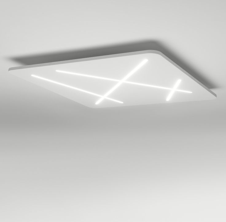 Next LED ceiling light, with runic style criss-crossing lines of light cut into the shade... Made In Italy. Take a look.