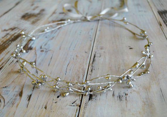 Silver bridal crown, Flower girl hair wreath, Bridal headpiece, Silver halo, Winter crown, Silver hair accessories, Toddler crown