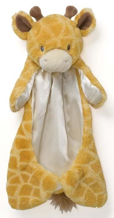 """Tucker"" the Giraffe Huggybuddy Baby Security Blanket from Gund. Huggybuddies are a line of animal-themed security blankets specifically designed to appeal to an infant's love of soft fabric."