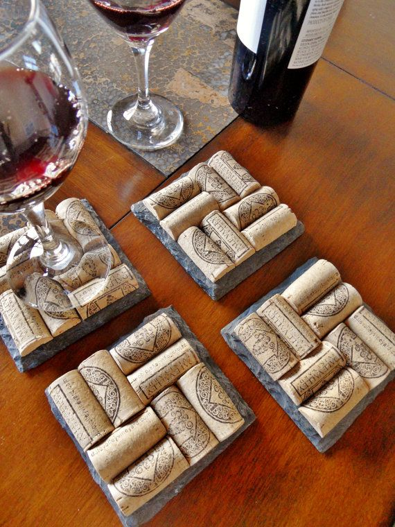 Home and Grapes Edition- Slate Wine Cork Coasters (Set of 4) Christmas, Wedding
