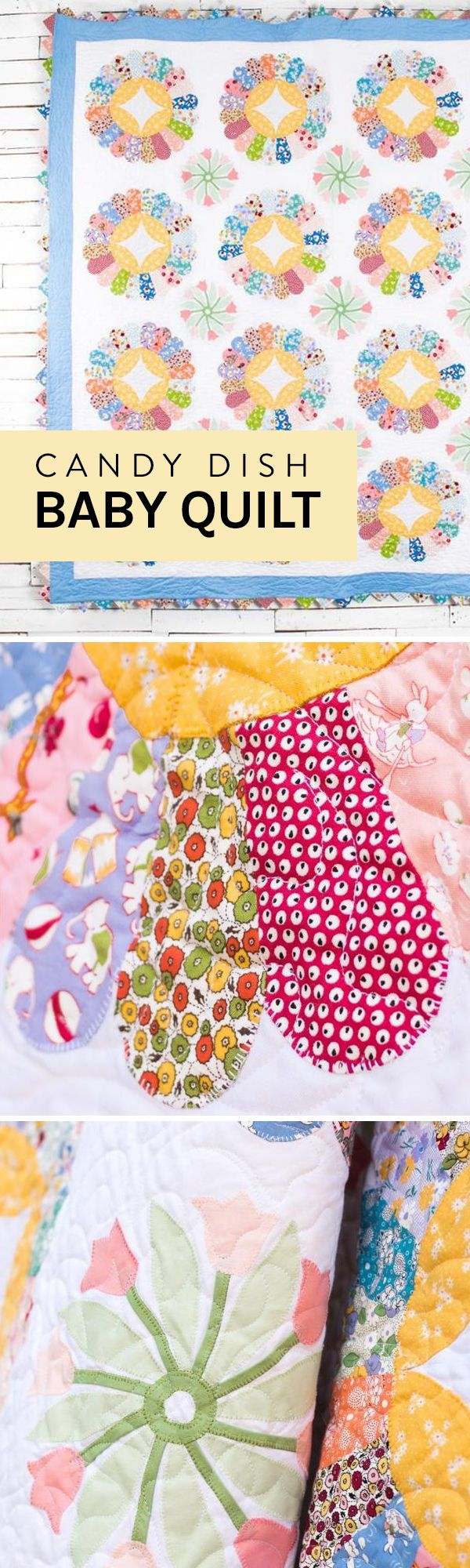 77 best childrens quilts and blankets images on pinterest the pink blue and yellow colors in the candy dish quilt kit make it bankloansurffo Choice Image