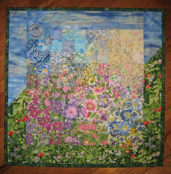 Blue Skies Sunshine And Garden Wall Hanging Art Quilt