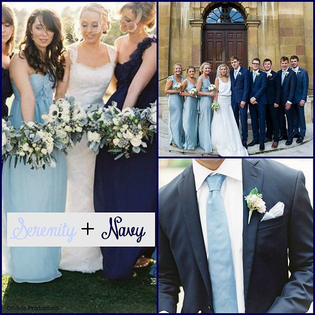One of Pantone's Colors of the Year, Serenity, paired with Navy makes a perfect color combo for any season and wedding theme.  This is also perfect for a Military wedding--Dress Blues for the groomsmen paired with the light blue!