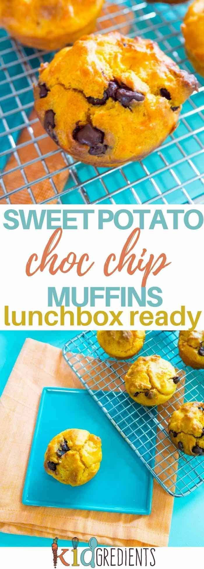 Sweet potato choc chip muffins, sweet enough without any additional sweetening!  These are so yummy and a kids favourite, pop them in the lunchbox or eat them for afternoon tea.  #kidsfood #lunchbox #snach #recipe #sweetpotato via @kidgredients