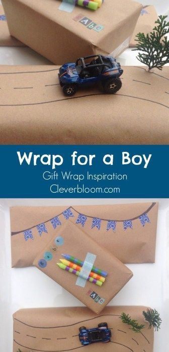 Are you going to a birthday party for a young boy? Visit cleverbloom.com for super cute gift wrap inspiration!