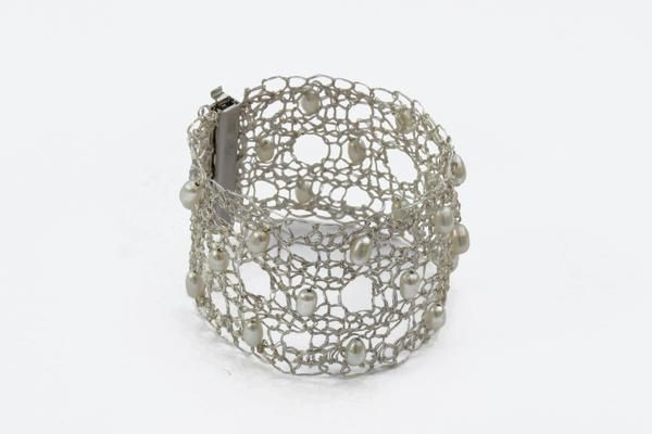 Gorgeous silver cuff created using an original lace pattern with integral pearls. Fine silver, sterling silver, pearls. Handmade to order.