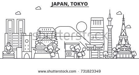 Japan Tokyo Architecture Line Skyline Illustration Linear Vector