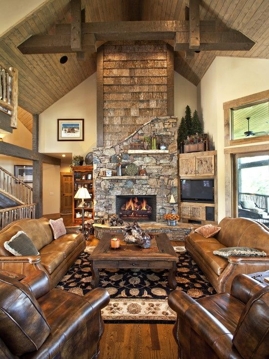 traditional living room log cabin decorating design pictures remodel decor and ideas - Cabin Living Room Decor