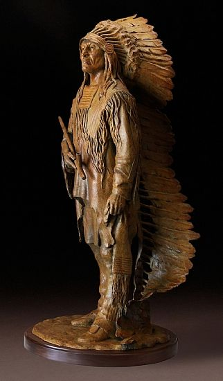 "Sculptor and artist Barry Eisenach's ""An Honored Life,"" Native American Indian Western art bronze sculpture of chief in full headdress with ..."