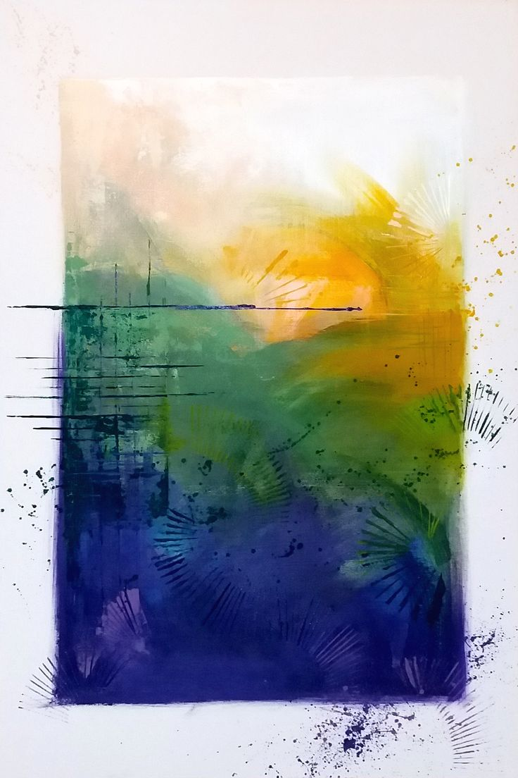 actylic on canvas, 70x100cm white, green, blue, yellow, acrylic, splash, inkspots, abstract, modernart, modern,