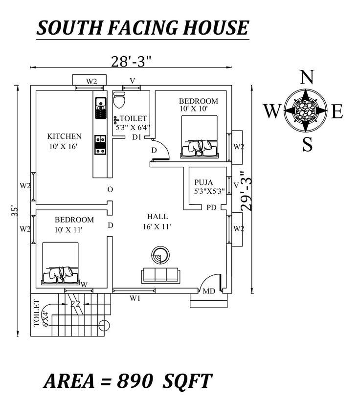 28'x35' 2bhk Awesome South facing House Plan As Per Vastu ...