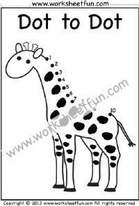 dot to dot giraffe numbers 1 10 one worksheet dot to dot worksheets preschool worksheets preschool math