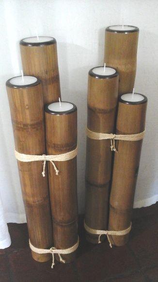 Dois conjuntos de Bambu.  Uma encomenda da Alessandra.  Com parafina branca , medindo 80/90/100 cm, 18cm diam.  preço unitario 400,00  Lindos para compor uma sala, ou uma varanda.  Aceitamos encomendas.