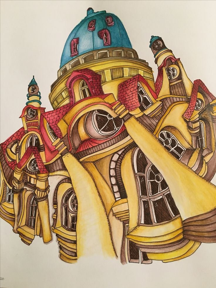 The Charlottenburg Palace From Magical City Colouring Book Coloured With Steadtler Luna Watercolour Pencils
