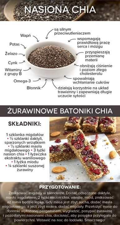Ostatnimi czasy bardzo wiele mówi się o nasionach chia. Ale czy one rzeczywiście nam sprzyjają? Poniżej kilka najważniejszych informacji, plus przepis na odżywczego żurawinowego batona chia ;)  Miłego dnia ;) http://fitnella.pl
