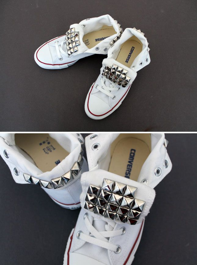 DIY Studded Converse Sneakers  I love me some cute chucks... i might have to do this to a pair of mine!