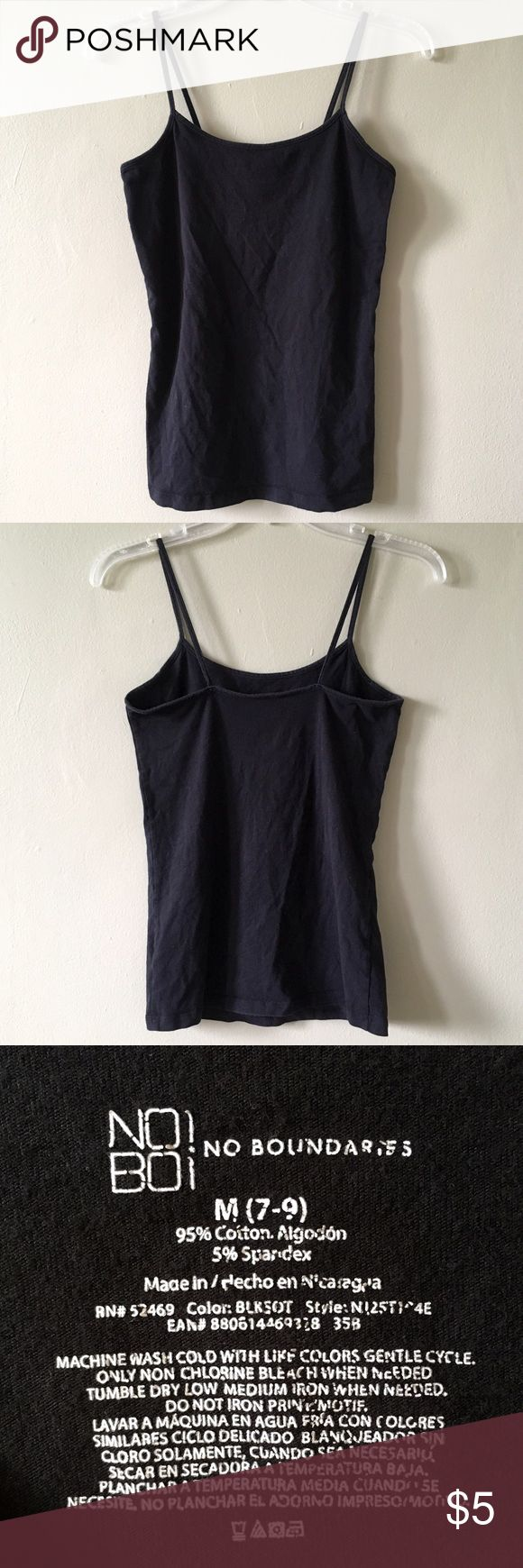 Brown Cotton Spandex Comfortable Camisole Tank Top Black Cotton Spandex Stretch Comfy Camisole Tank Top. Spaghetti straps. Size Medium (7-9). Used, good condition. No Boundaries Tops Tank Tops