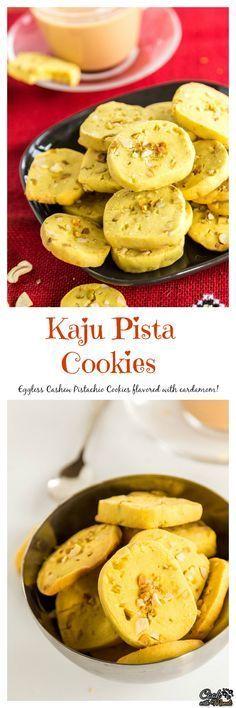 Eggless Kaju Pista Cookies are popular tea-time cookies from India! #cookies #eggless #crispycookies