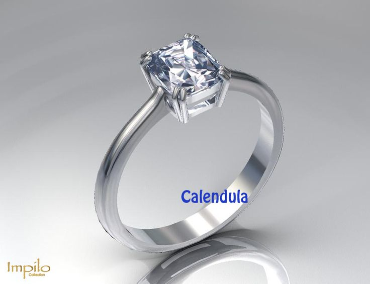 """Calendula"" - Princess cut diamond in a four claw setting."