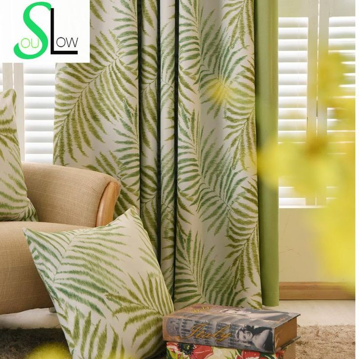 Aliexpress.com : Buy Modern Curtains For Living Room Green Leaves Printed Silk like Fabric Drapes Blackout Curtains Rideau Cortinas Free Shipping 52 from Reliable curtains fireproof suppliers on Slow_Soul