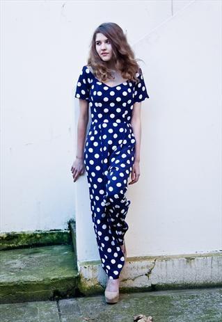 Vintage 80's polka dot jumpsuit  £80  #polkadot #jumpsuit #nautical