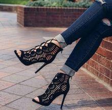 Venda quente 2017 Gladiador Sapatos de Salto Alto Novo Sexy Casuais laçar Dedo Aberto Feminino Sapatos Cut-outs Capa Saltos Tornozelo Preto botas alishoppbrasil