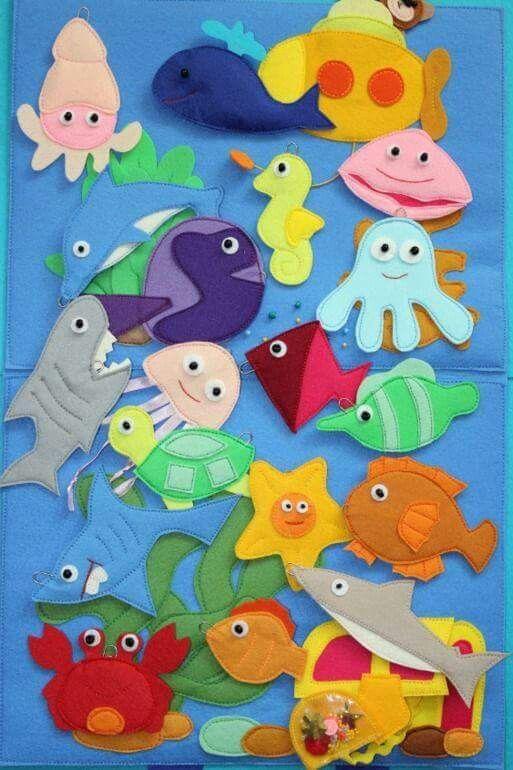 Felt sea creatures