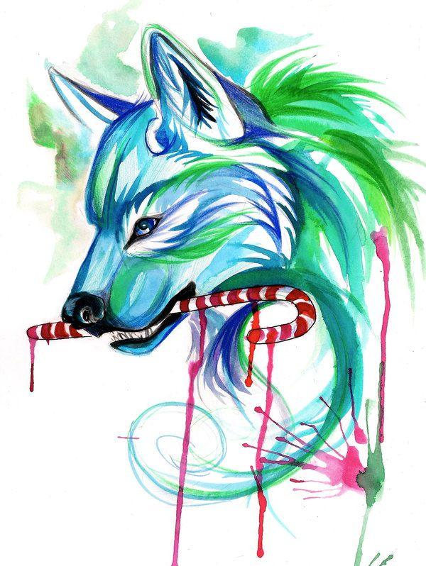 Holiday Wolf by Lucky978.deviantart.com on @deviantART